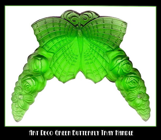 2 CZECH DECO VANITY TRAY GREEN BUTTERFLY