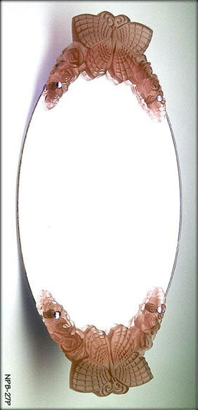 2 CZECH DECO VANITY TRAY PINK BUTTERFLY HANDLES