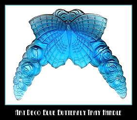 2 CZECH DECO VANITY TRAY BLUE BUTTERFLY HANDLES
