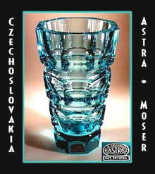 ART DECO CUT AQUA CRYSTAL SGND VASE #3