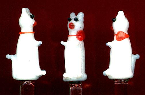 12 ART DECO GLASS CAT HORS D'OEUVRE PICKS