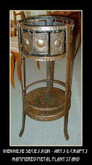 ARTS & CRAFTS HAMMERED METAL PLANT STAND
