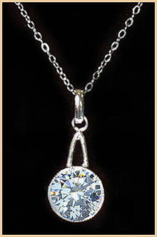 ART DECO FAUX DIAMOND PENDANT WITH CHAIN CJ-7