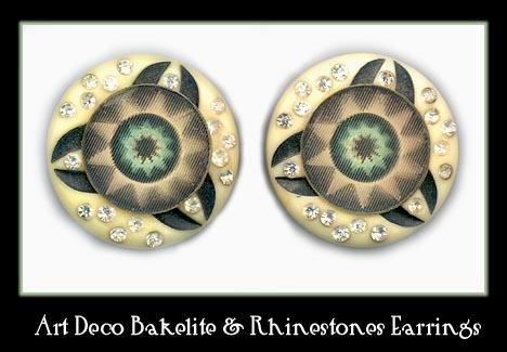 1940's VINTAGE BAKELITE RHINESTONE EARRINGS CJ-8