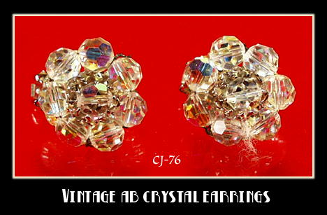 VINTAGE HOBE AB CRYSTAL BEAD CLUSTER EARRINGS CJ-76