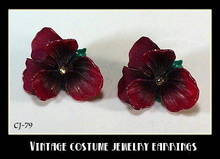 VINTAGE DARK PURPLE ORCHIDS EARRINGS CJ-79