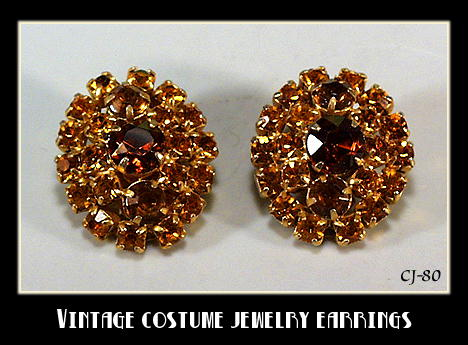VINTAGE RHINESTONE EARRINGS AUTUMN COLORS CJ-80