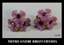 VINTAGE PURPLE FLOWER RHINESTONE EARRINGS CJ-85