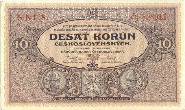 ORIGINAL 1920 MUCHA DESIGN 10 KORUN BANKNOTE