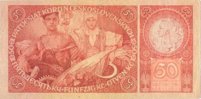 ORIGINAL 1920 MUCHA DESIGN 50 KORUN BANKNOTE