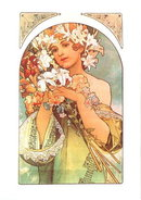 MUCHA FRUITS / FLOWERS LARGE FOLD POSTCARD