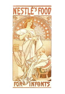 MUCHA NESTLE'S FOOD / REVERIE LARGE FOLD POSTCARD