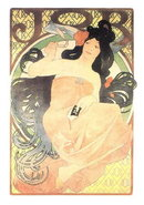MUCHA ART NOUVEAU JOB POSTCARD