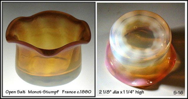 FRENCH c1880 ART GLASS MONOT STUMPF OPEN SALT