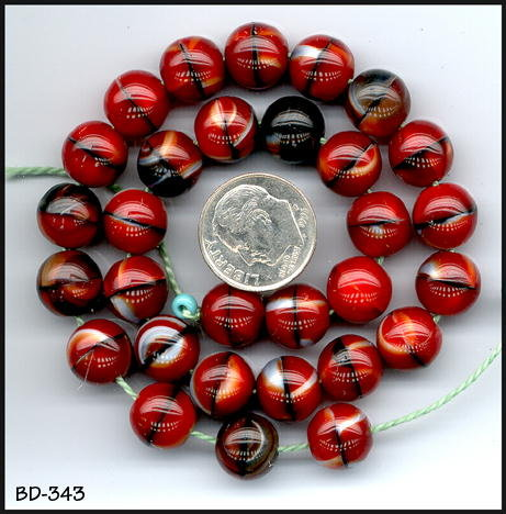 1000 OLD CZECH RED/BLACK ROUND BEADS 10mm #343
