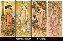 4 VINTAGE MUCHA ART NOUVEAU POSTERS 4 FLOWERS