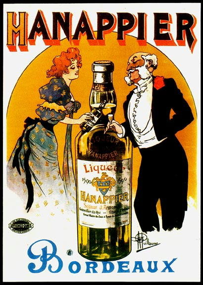 FRENCH LIQUOR ADVERTISEMENT POSTER HANAPPIER