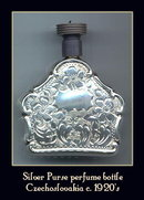 CZECH ART DECO SILVER PURSE PERFUME BOTTLE