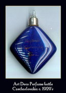 CZECH ART DECO COBALT PURSE PERFUME BOTTLE