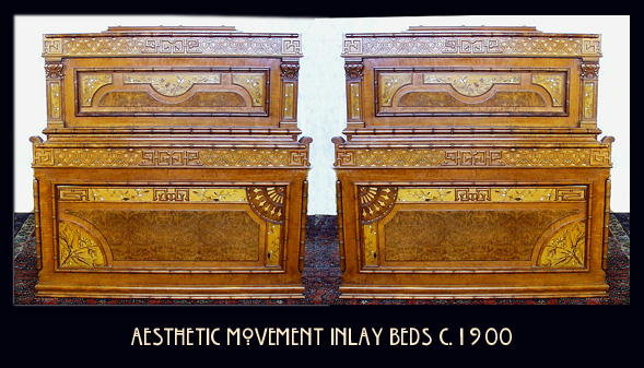 AESTHETIC MOVEMENT INLAY BEDS (PAIR) c.1900