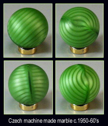 2 VINTAGE CZECH GLASS MARBLES SWIRLS c.1950's