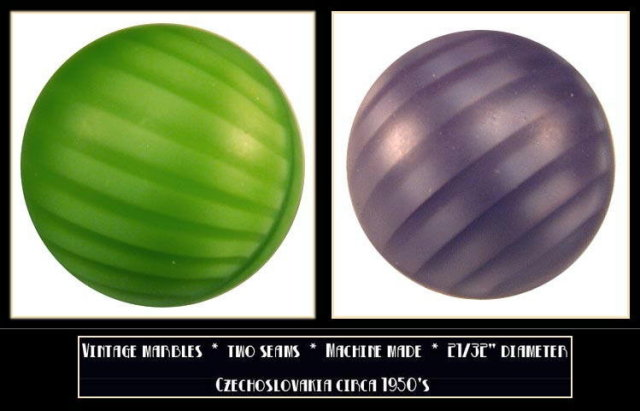 2 VINTAGE CZECH GLASS MARBLES SWIRLS c.1950's