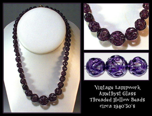 47 VINTAGE HOLLOW LAMPWORK PURPLE GLASS BEADS