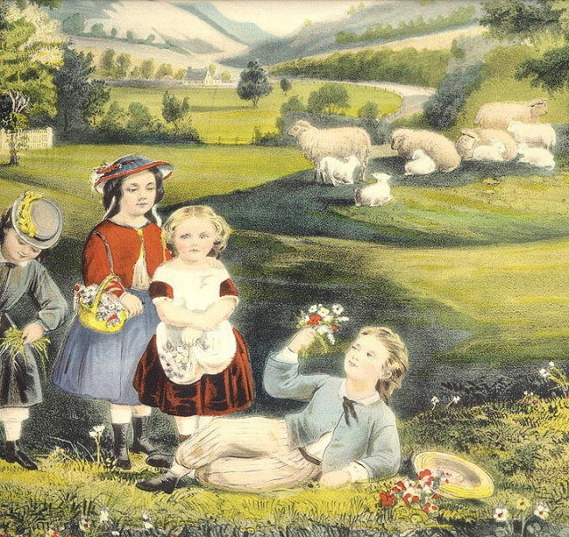 1868 CURRIER & IVES FOUR SEASONS OF LIFE,