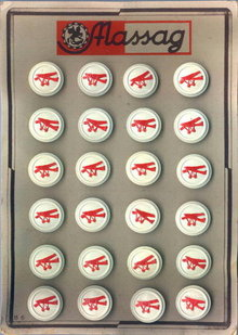 24 RED AIRPLANE PICTURE BUTTONS 1930-40 CARD