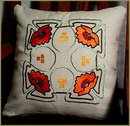 4 ARTS & CRAFTS EMBROIDERED PILLOWS