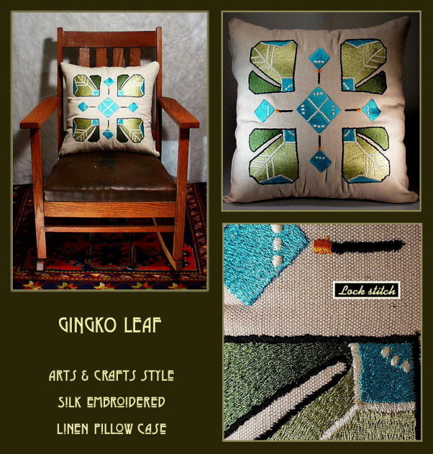 ARTS & CRAFTS MISSION EMBROIDERED GINGKO PILLOW