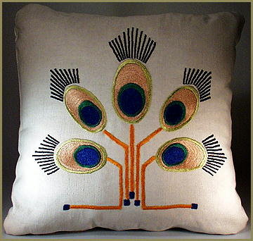ARTS & CRAFTS MISSION EMBROIDERED PEACOCK