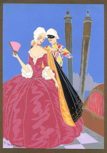 MAX NINON 1920's ART DECO POCHOIR RIGOLETTO