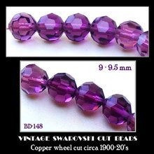 100 VINTAGE SWAROVSKI CUT PURPLE GLASS BEADS