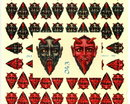 RARE LARGE UNCUT OLD SCRAP SHEET GREY/RED DEVIL