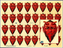 3 RARE UNCUT OLD SCRAP SHEETS RED DEVIL HEAD