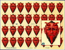 3 RARE UNCUT OLD SCRAP SHEETS RED DEVIL HEAD P13