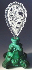 CZECH MALACHITE GLASS COLOR PERFUME BOTTLE