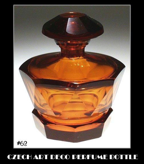 CZECH ART DECO TOPAZ COLOR GLASS PERFUME BOTTLE