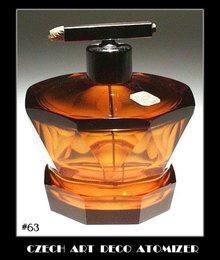 CZECH ART DECO TOPAZ COLOR GLASS ATOMIZER OPB63