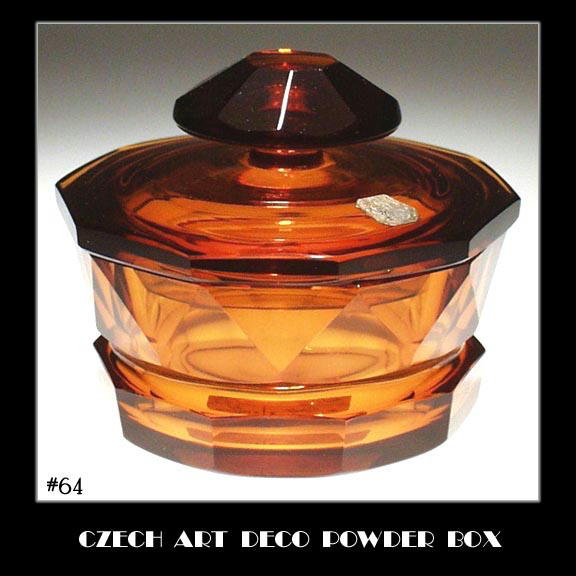 CZECH ART DECO TOPAZ COLOR GLASS POWDER BOX