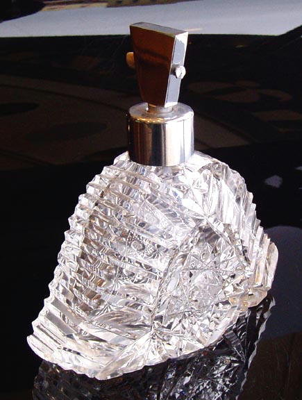VINTAGE CZECH ART DECO CUT CRYSTAL ATOMIZER