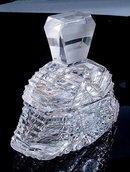 CZECH ART DECO CUT CRYSTAL POWDER BOX