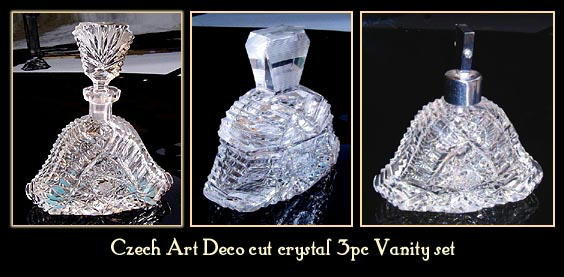 CZECH ART DECO CUT CRYSTAL PERFUME BOTTLE
