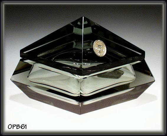 SIGNED CZECH GEOMETRICAL ART DECO POWDER BOX