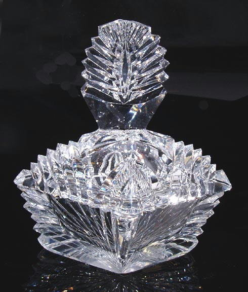 VINTAGE CZECH ART DECO CUT CRYSTAL POWDER BOX