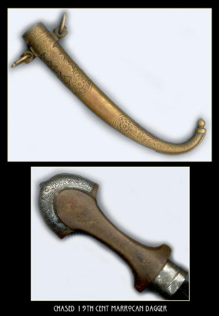 CHASED 19TH CENT MARROCAN DAGGER MS-50