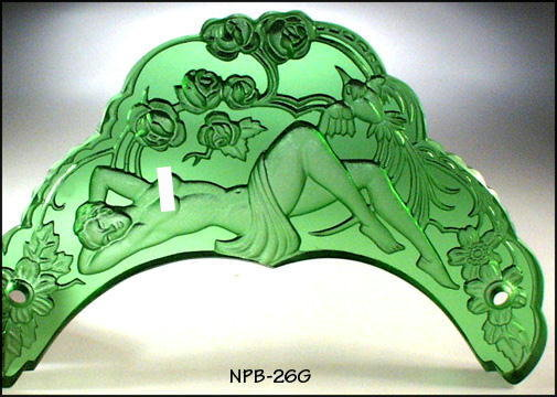 CZECH ART DECO GLASS VANITY TRAY GREEN NYMPHS