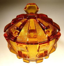 CZECH CUBIST (CUBISM) LIDDED TOPAZ GLASS BOWL