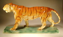 CZECH ART POTTERY D. URBACH TIGER FIGURINE